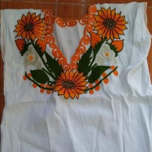Mexican Sunflower Embroidered Top Blouse Handmade